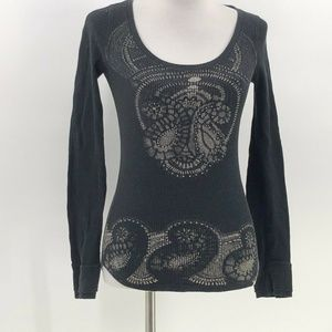 lucky tees thermal graphic top lucky brand shirt S